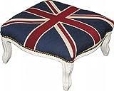 Casa Padrino Barock XXL Fußhocker Mod3 Union Jack / Creme - Hocker Englische Flagge - Antik Stil England