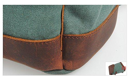 simplebase Unisex in Pelle con tela zaino Vintage Casual zaino borsa da palestra verde 6819green Standard 832grey