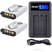 TOP-MAX® 2 NP-BX1 Batería + USB Cargador para Sony NP-BX1, NP-BX1/M8,Sony Cyber-shot DSC-HX50V, DSC-HX300, DSC-HX400,DSC-RX1, DSC-RX1R, DSC-RX100, DSC-RX100 II, DSC-RX100M II, DSC-WX300, HDR-AS10, HDR-AS15, HDR-AS30V,HDR-AS50R, HDR-AS100V, HDR-AS100VR, HDR-AS300R,HDR-CX240, HDR-MV1, HDR-PJ275,FDR-X3000, FDR-X3000R