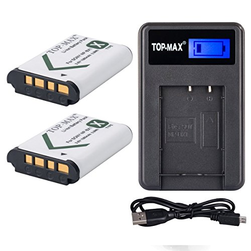 top-maxr-np-bx1-battery-2-pack-usb-charger-with-lcd-screen-for-sony-cyber-shot-dsc-hx50v-dsc-hx300-d