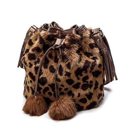 2017 Kangrunmy Ragazza abbastanza sveglia borsa peluche borsa a tracolla messenger Marrone
