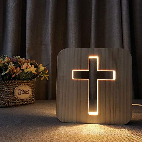 Christliche Geschenke 3D Kreuz Schatten LED Holz Nachtlicht USB Schreibtisch Tischlampe Kruzifix Handwerk Für Heimtextilien