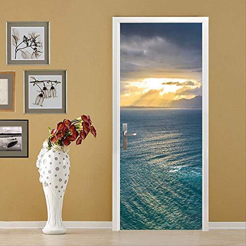 Zkamang Sonnenschein Meer Tür Aufkleber, 3D Meer Wolke Tür Aufkleber, Dekorative Schlafzimmer Wohnzimmer Aus Klebrigen Wandpaste