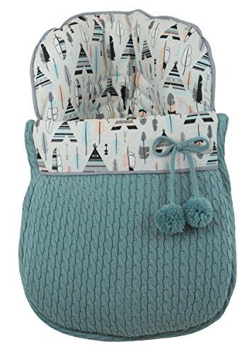 Preisvergleich Produktbild Schlafsack Winter Universal Handy Tasche Gruppe 0MaxiCosi in Punkt und Canvas Federn und Tipis. Grün Wasser. Hergestellt in Spanien