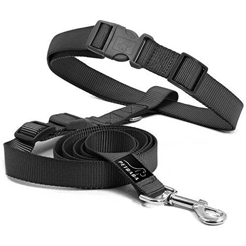 hundeinfo24.de Hundeleine Jogging, PETBABA 90-150cm Lang Hände Frei Nylon Training Hunde Leine mit Bauchgurt für Hunde Schwarz