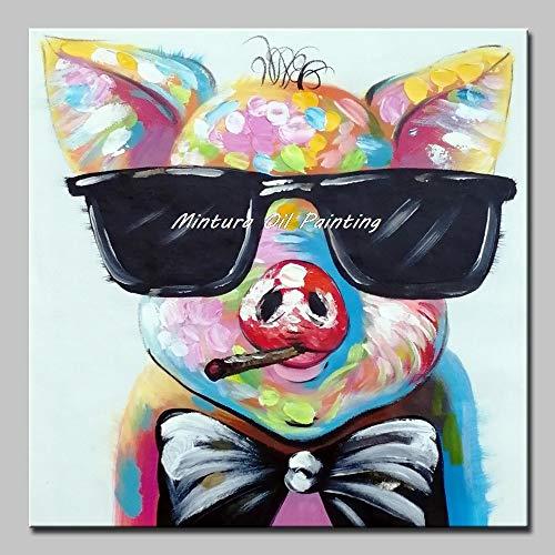 ZLYYH Ölgemälde Auf Leinwand Kunst Handgemalt Acryl Auf Leinwand Oil Painting Cartoon Schwein Mit Sonnenbrille Modernen Abstrakten Tier Wand Kunst Bild Kinderzimmer Home Decor Nicht Gerahmt, 80X80Cm