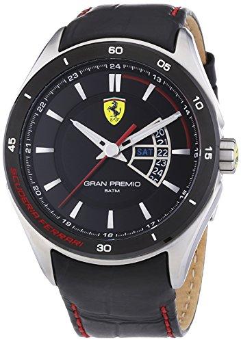 Ferrari 0830183 Gran Premio - Reloj analógico de pulsera para hombre, correa de piel