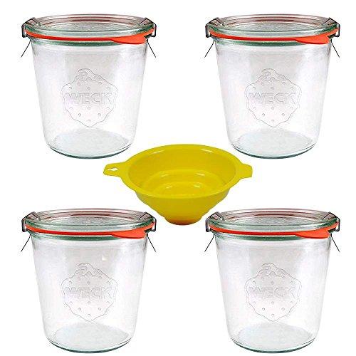4 Weckgläser/Rundrandgläser in Sturzform 500 ml (auch gut geeignet für Kuchen im Glas) inkl. Klammern+Ringe und einem gelben Einfülltrichter mit Arretierung