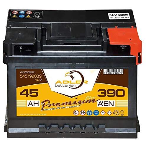 Autobatterie 12 V / 45 Ah - 390 A/EN 54599 Adler ers. 35 37 38 40 44 46 47 48 Ah -