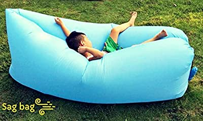 Self Inflatable Sofa Lounger Bag Hammock Air Bed Without Pump for Outdoors, Festivals, Camping, Swimming Pool. LARGE Waterproof Parachute Material, by SagBag - inexpensive UK light shop.