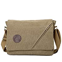 Eshow Men's Messenger Shoulder Bag Canvas Cross Body Side Beach Pack Bag Retro Casual for Daily Use Travel School Shopping ???Khaki 01???