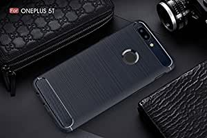 CELLBON Premium Shock Proof Carbon Fibre Brushed Texture Armour Series Slim Profile TPU Phone Back Case Cover For OnePlus 5T - Deep Blue