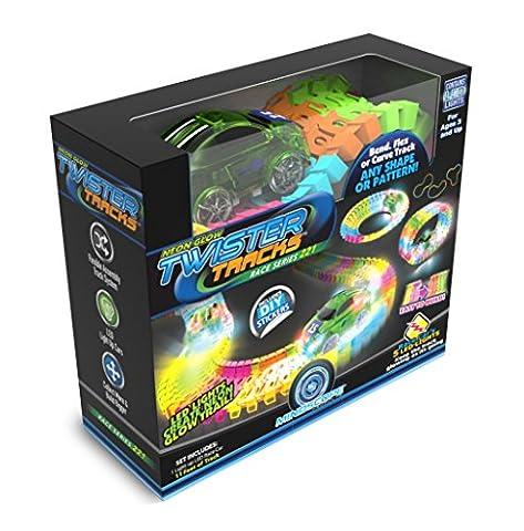 Mindscope präsentiert die im Dunkeln leuchtende Twister-Neon-Rennbahn, die flexible Baukasten-Rennstrecke aus 221 Teilen (mehr als 3 Meter)