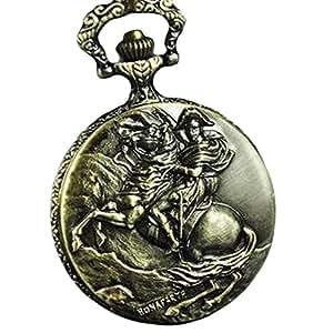 Cheval et cavalier Napoléon Bonaparte Bronze Montre de poche Vintage avec chaîne