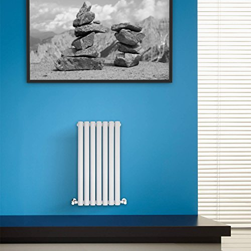 BestBathrooms White Horizontal Designer Radiator - 600 x 415 mm - Premium Single Panel Oval Column Modern Central Heating Radiators - Perfect for Bathrooms, Kitchen, Hallway, Living Room