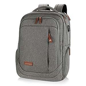KROSER Laptop Rucksack Computer Rucksack 17,3 Zoll Tagesrucksack Wasserabweisende Laptoptasche mit USB Ladeanschluss für Business/Schule/Reisen/Frauen/Männer-Grau MEHRWEG