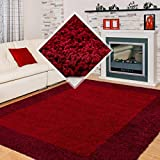 Carpet 1001 Hochflor Langflor Wohnzimmer Shaggy Teppich 2 Farbig Rot und Bordeaux - 160x230 cm