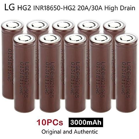 10 x LG HG2 INR18650-HG2 3000mAh 20A/30A Alta Scarico Ricaricabile Li(NiMnCo)O2 Batteria 3.7V Genuine