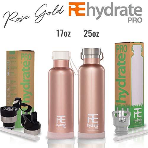 Rehydrate Pro a doppia parete in acciaio INOX acqua vuoto bottiglia Flask - compatibile a Swell Yeti Hydro e Klean Kanteen per bevande calde o fredde + 'Flip N SIP' Berretto sportivo rose gold