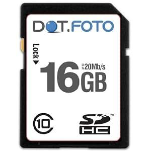 Dot.Foto - 16 Go Carte mémoire SDHC Classe 10 - 20Mo/sec pour caméscopes Panasonic NV-GS/PV-GS/VDR-D [Pour la compatibilité voir la description]