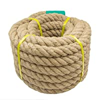 Aoneky Natural Jute Rope - 25 / 30 / 40 MM Heavy Duty Twisted Hemp Rope for Crafts Nautical, Cat Scratching Post, Chandelier, Climbing, Hammock - Garden Decking Rope for Decorate (30mm / 15m)