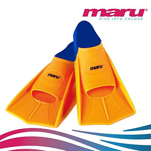 Trainingsflossen zum Schwimmen–Maru Schwommflossen für Kinder, Junior, Mädchen oder Jungen–Neonorange/marineblau