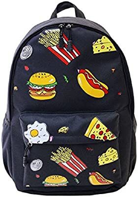 Demarkt Mujeres Viaje Mochila hamburguesas Chicas Chicos Escolar Mochila Bolso de hombro(hamburguesa negro)