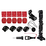 Helmet Side Mount Set + J-hook Quick Release Buckle Clip 3 M Adhesive Pads for GoPro Hero Action Cam X