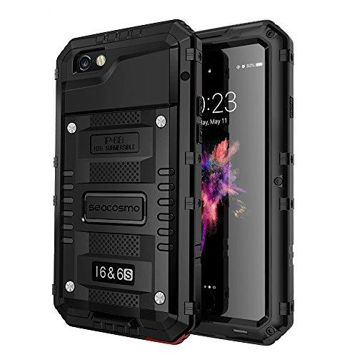 Seacosmo iPhone 6 Wasserdicht Hülle, Militärstandard Schutzhülle mit Eingebautem Displayschutz Haltbarkeit stoßfest Handyhülle für iPhone 6s,Schwarz