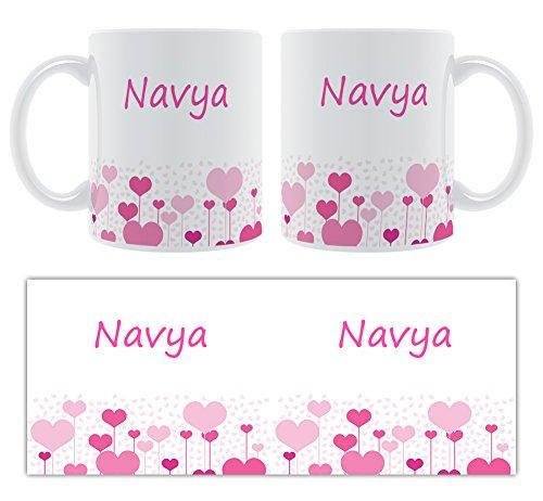 navya – Motif cœurs – Femelle Nom personnalisable Mug en céramique