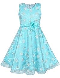 b63e9c23e068 Sunny Fashion Vestito Bambina Blu Rosa Nozze Pageant Bambini Boutique 4-12  Anni