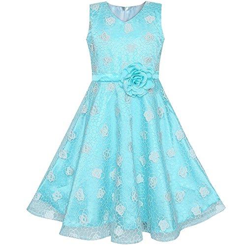 Sunboree Mädchen Kleid Blume Blau Rose Hochzeit Party Geburtstag Gr. 134 -