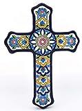 Art Escudellers Croce Modello 4, Croce Decorativa di Ceramica da Parete Dipinto a Mano con la Tecnica cuerda seca Blu. 19,5 cm x 27 cm x 2 cm