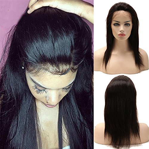 360 lace wig parrucca donna capelli veri umani naturali glueless lisci 100% virgin brasiliani 130% densità con babay hair pre plucked bellezza, 12