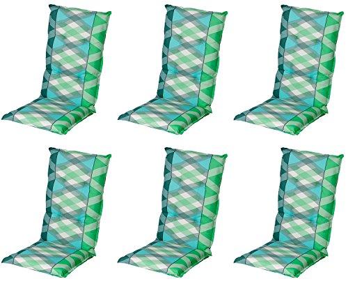 Schwar Textilien Stuhlauflage Hochlehner Gartenstuhlauflage Sitzauflage ca. 8cm Dick 6er Set Grün...