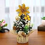 H-M-STUDIO Weihnachten Dekorieren Desktop Mini Compact Weihnachtsbaum Zähler Dekoration Weihnachtsschmuck Goldener Tuch Baum