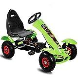 Lvbeis Kids Go-Kart-Fahren Mit Handbremse Tretauto Indoor Outdoor Tretfahrzeug Verstellbarer Kettcar Sitz FüR 5 Bis 14 Jahre,Green