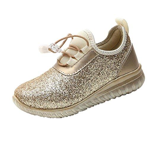 Baby Schuhe Sonnena Frühling Casual Girls Boy Running Schuhe Kids Soft Flats Schuhe Kinder Sport Sneakers Unisex/Solid/Lace-up/PU/flach/1 Paar Schuhe (EU:30, Sexy Glod )