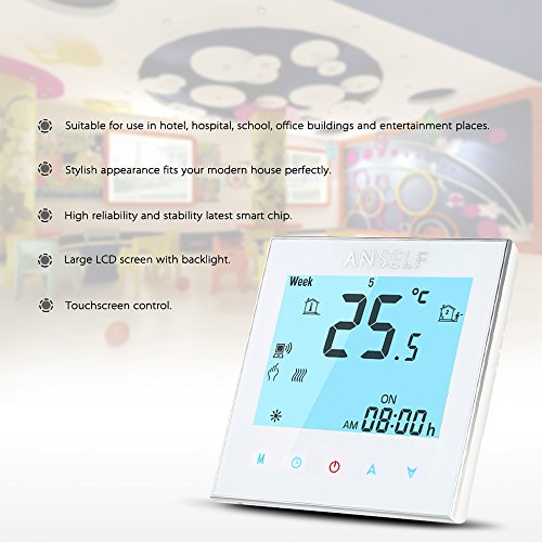 Anself WIFI Intelligenter Raumthermostat Elektroheizung Programmierbarer Temperaturregler mit LCD Touchscreen - 4