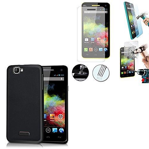VCOMP® Wiko Rainbow 4G: Coque silicone gel Couleur: NOIR + 1 Film de protection d'écran Verre Trempé