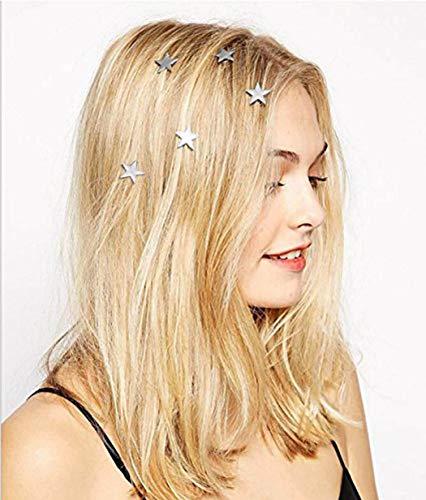Yean Bridal horquillas para el pelo con diseño de estrella de Vingate, 5 unidades, para mujeres y niñas (plata)