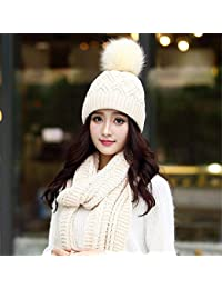 HUAIX Home Sombrero de Punto cálido de Invierno para Mujer Gorro de Punto  Bufanda de Dos 1f24ba09d07