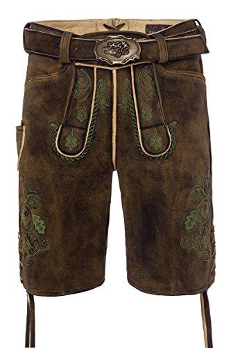 Lieblingsgwand MOSER Trachten Lederhose kurz mit Gürtel braun-used grün Fonsl 005063 - limitiert, Material Hirschleder, Größe 48