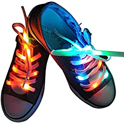 fourHeart Nylon Cordones LED luminoso de Zapatos 3 Modos Brillante para Disco Danza Fiestas Hip-hop (Vistoso)