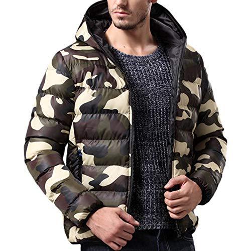 Preisvergleich Produktbild Mantel Herren, Herren Herbst und Winter Mantel Jacke Tarnung Schneeflocke mit Kapuze Daunenjacke, Binggong Herren Mantel