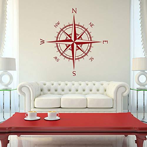 Compass Rose Der Kapitän Vinyl Aufkleber Passt auf Wanddecke und mehr Reise Wandtattoo Nautische Thema Schlafzimmer Dekor DIY 42X42CM (Nautische Thema Ideen)