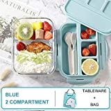 YWXFX Baispo Lunch Box Box Pranzo in microonde per Bambini Contenitore e Contenitore per Alimenti Scuola di stoccaggio Cucina a Tenuta stagna Riscaldamento @ Blue 2 Set griglia_800 ml