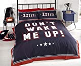 Bedding Heaven Don't Wake Me Up Duvet Cover. Fully Reversible. Perfect Teenage Bedding Set. Blue and Red Striped Double, by Bedding Heaven