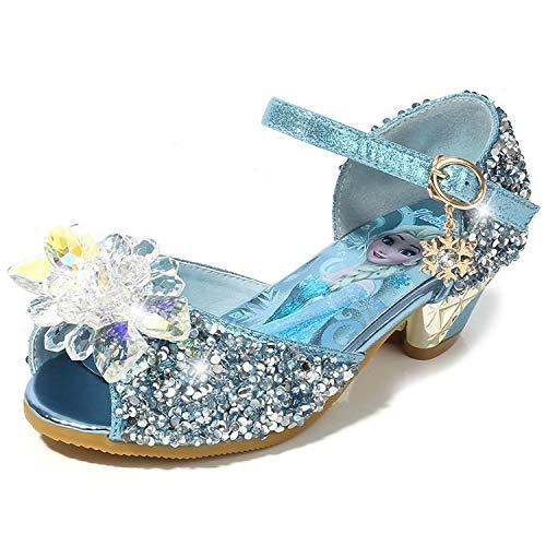 FStory&Winyee Mädchen Prinzessin Schuhe Kinder ELSA Sandalen mit Absatz Partei Ballerinas Glitzer Kristall Schuhe Schnee Königin Kostüm Karneval Verkleidung Party Hochzeit Aufführung Fasching (Schnee Königin Prinzessin Kostüm)