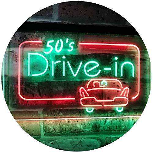 ADV PRO 50s Drive in Vintage Display Home Décor Dual Color LED Enseigne Lumineuse Neon Sign Vert et Rouge 400 x 300mm st6s43-m2076-gr